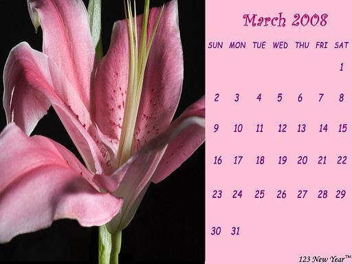 Calendrier du mois de mars